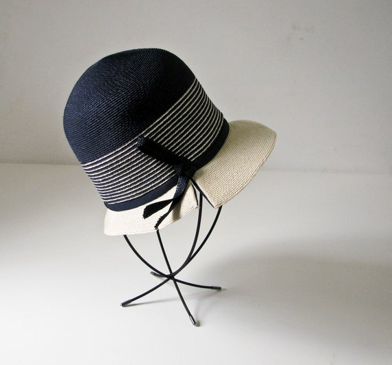 Reserved for Chiara - Vintage Straw Hat - Cream and Navy Cloche  - 1960s - Famous Designer