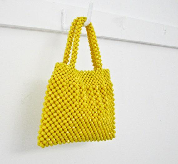 Vintage Beaded Handbag - Bright Yellow - 1950s