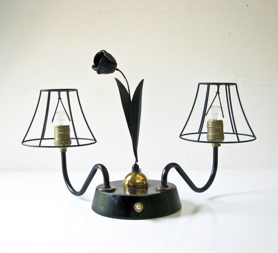 Reserved for Kim - Tulip Table Lamp - Unusual - Charming - Black and Brass