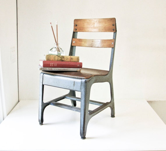 Vintage Child School Chair Wood And Metal Back To By Beejaykay