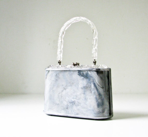 1950s Grey Marbled Plastic Handbag