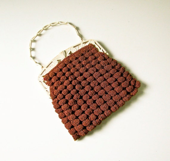 1940's Crochet and Carved Plastic Handbag - Cocoa color