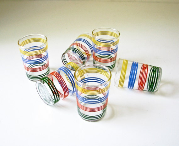 6 Vintage Juice Glasses - Colorful Stripes