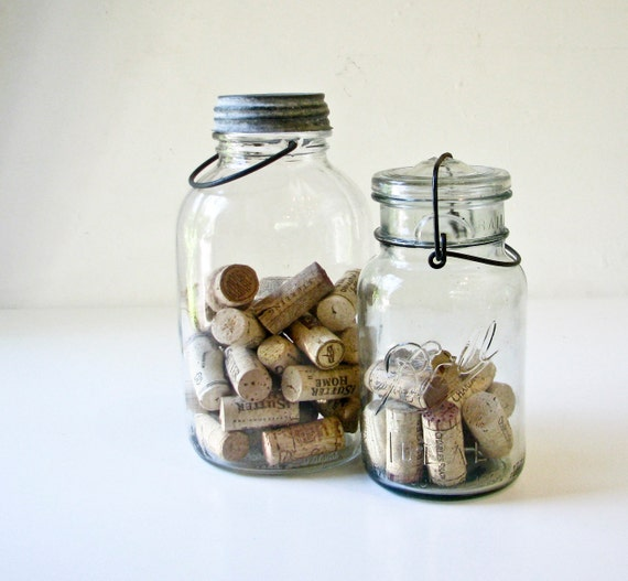 Vintage Glass Jars - 1 with Zinc Lid -  1 With Glass Lid -Ball Mason and Duraglass Bottles