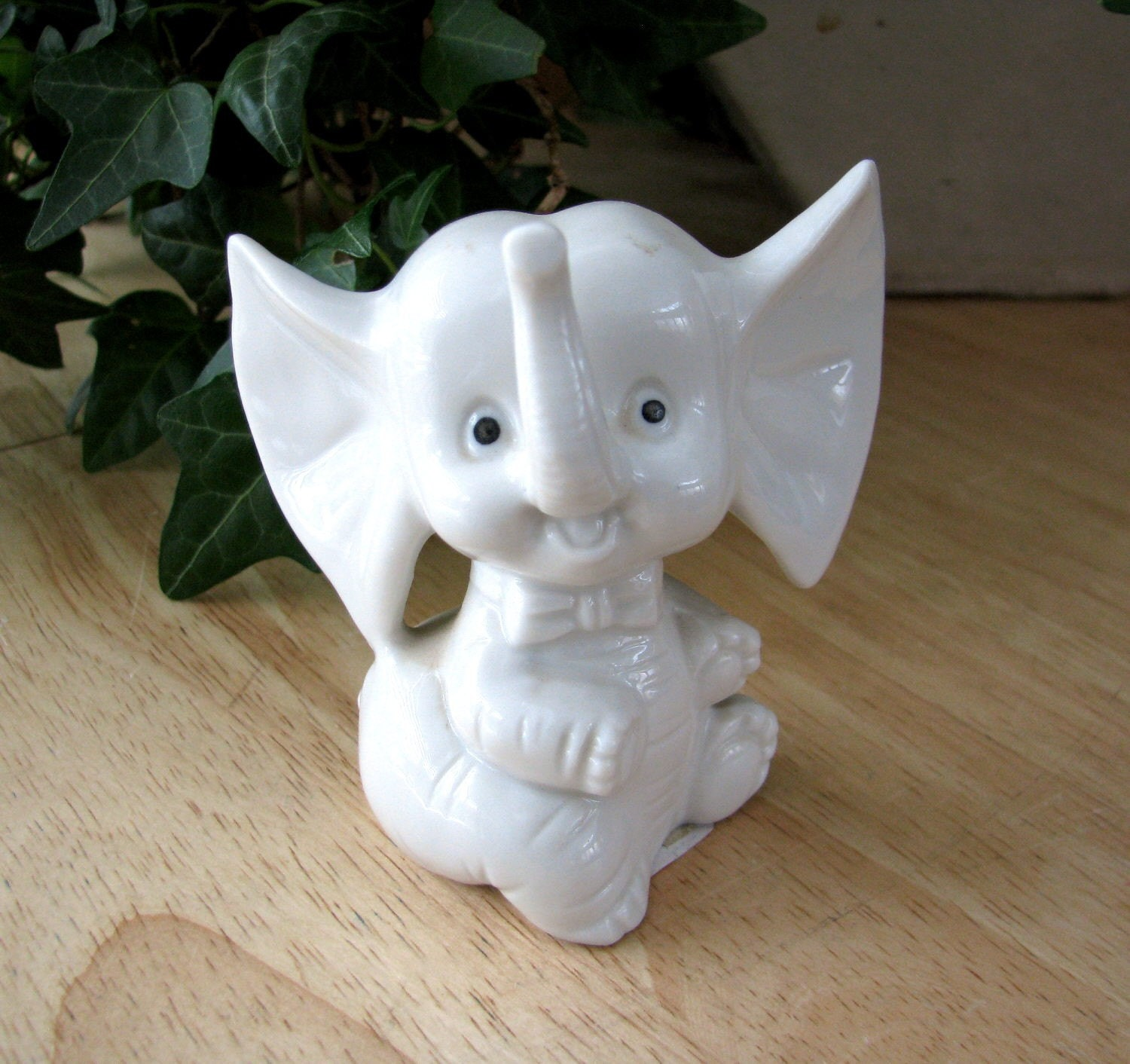 Small White Porcelain Baby Elephant Cute And Adorable