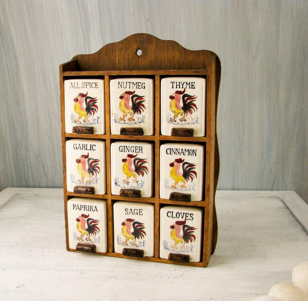 Vintage Spice Rack Wood Cabinet Ceramic Spice Jars