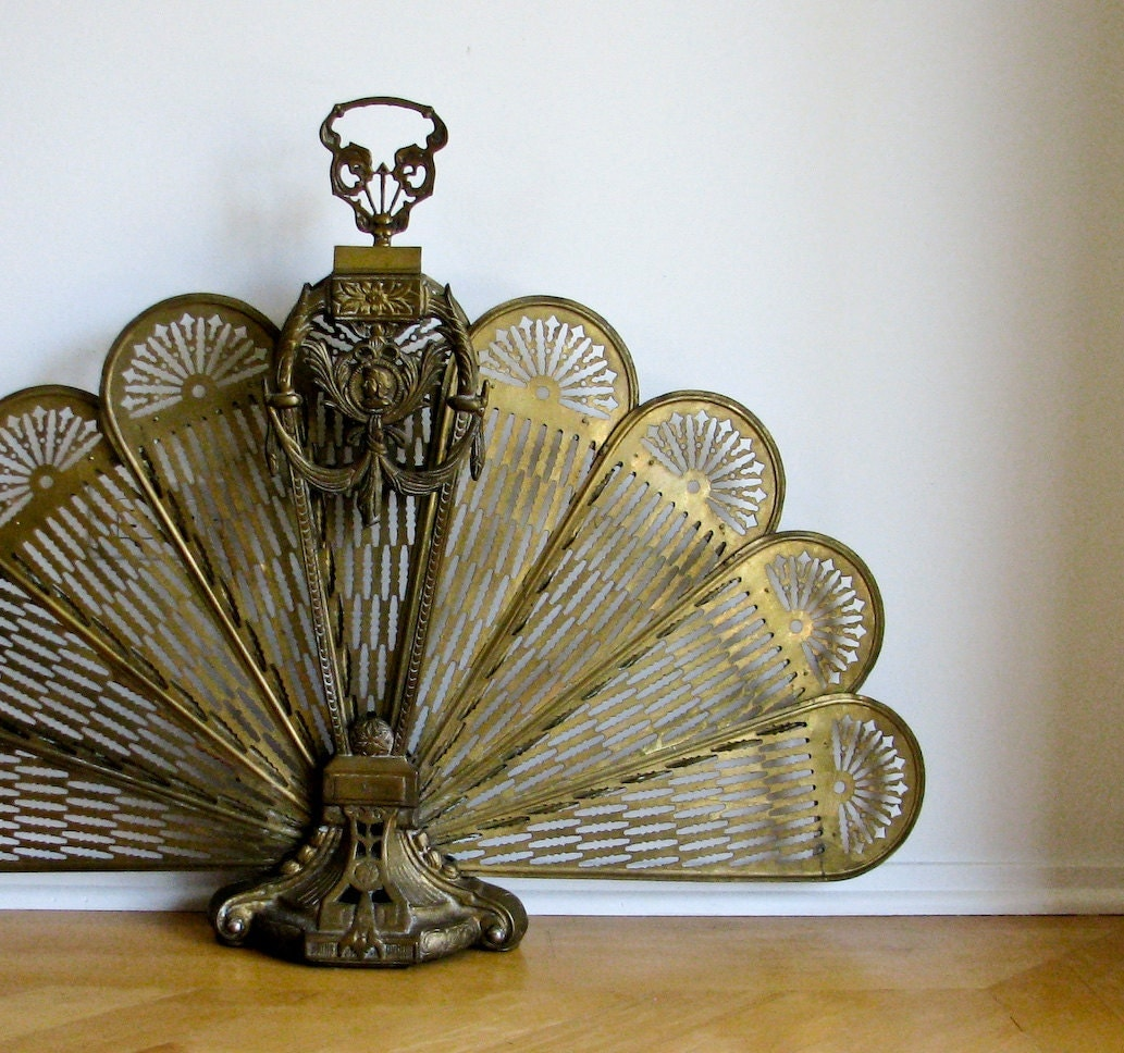 Antique Brass Fireplace Screen Ornate Skeletal Look