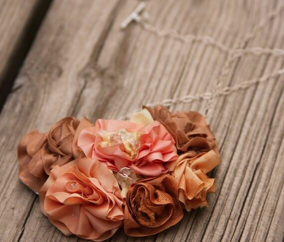 Rose Bib Necklace in Pinks With Swarovski Bling Free Shipping USA
