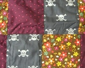 ON HOLD FOR THEABBEY Retro Flowers, Stars and Skulls Winter Warm Baby Blanket