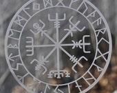 Viking protection runes vegvisir compass talisman etched glass vinyl decal