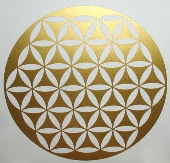 Flower of life sacred geometry gold vinyl decal