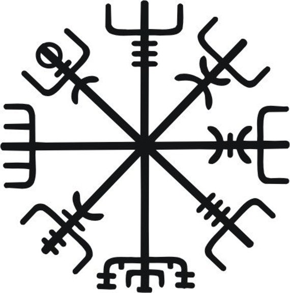 Icelandic viking vegvisir rune black vinyl decal - Rune viking traduction ...