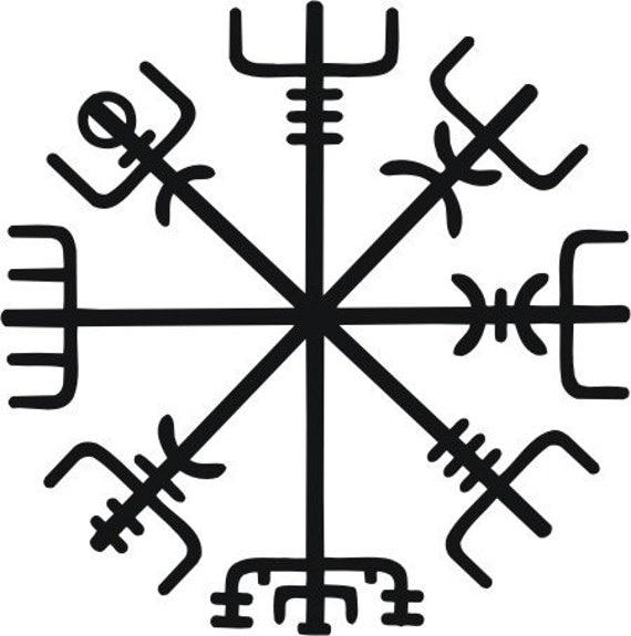 icelandic viking vegvisir rune black vinyl decal. Black Bedroom Furniture Sets. Home Design Ideas