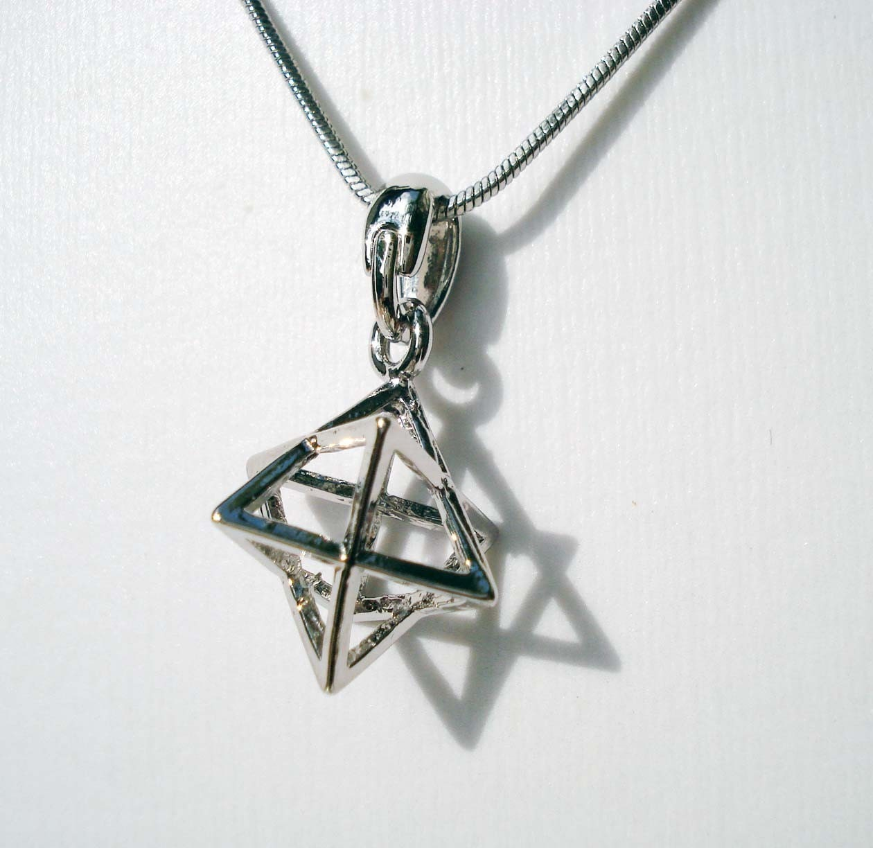 silver merkaba kabbala charm necklace evil eye judaica