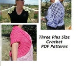 Crochet Shrug Plus Size Patterns DIGITAL PDF PATTERNS sizes from L to 6X