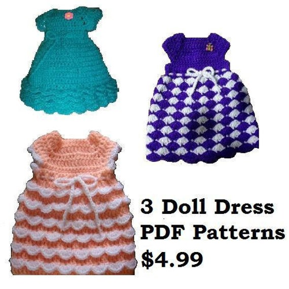 3 Crochet Doll Dress Patterns Fits American Girl Dolls, Our Generation and other 18 inch Dolls