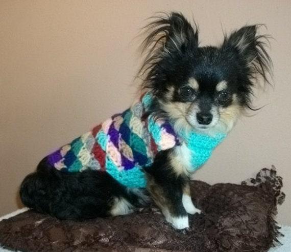 Crochet Dog Sweater Shells of Many Colors Small Breed Dog Sweater PDF PATTERN