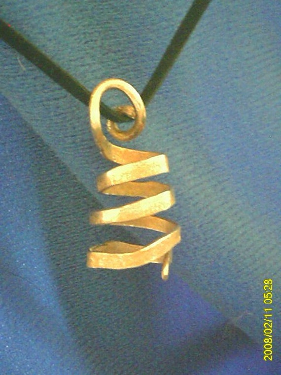 Copper Twist Pendant with Black Suede