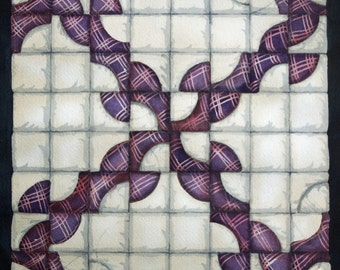 Drunkards Path Quilt Square an original watercolor painting