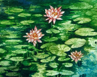 Water Lilies Study and original watercolor