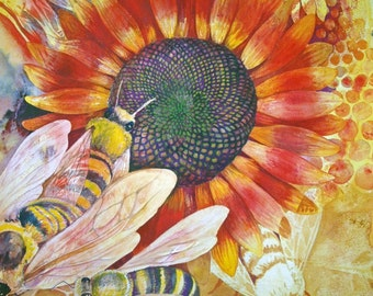 Where Are The Bees I, an original watercolor painting