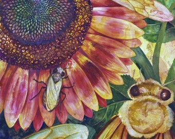 Where Are The Bees II, an original watercolor painting