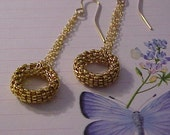 Beadwoven Gold Ring Earrings