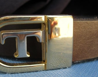"""1"""" Wide Leather Belt With Letter Buckle Custom Cut  Free Key Fob"""