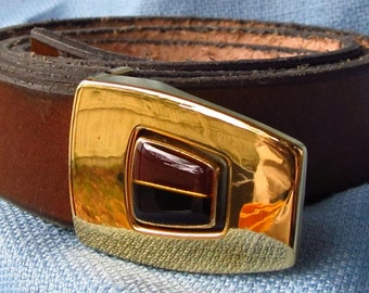 """1"""" Wide Leather Belt Hand Cut and Dyed Custom Fit Free Key Fob"""
