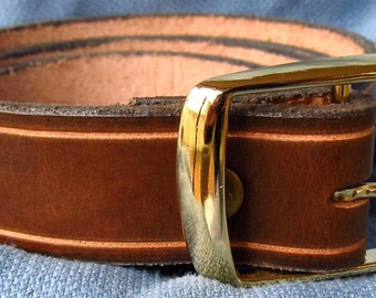 """1 1/8"""" Wide Leather Belt Hand Carved and Dyed Custom Fit Free Key Fob"""