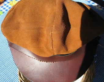 Leather and Suede Hand Stitched Cap or Hat