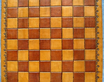 Leather Hand Tooled Chess Checker Board On Solid Wood