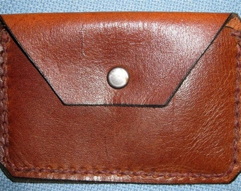 Leather Coin Case Hand Tooled and Stitched