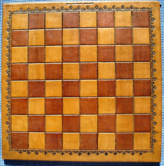 Wooden checker board wooden checkerboard in - Leather Hand Tooled Chess Checker Board On Solid Wood