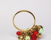 Ring a ling Bells ring  - adjustable gold plated cocktail ring with red and green beads