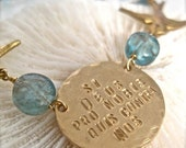 """Inspirational Quote Jewelry - Birds and Gemstone Necklace - """"With God On Our Side"""""""
