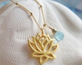 Bright Beginnings  - Gold Lotus Bloom Necklace with Apatite Briolette