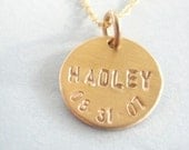 Gold Birthdates - One Disc on 14kgf Rope Chain