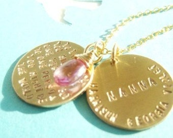 You Might Be The World - and Surrounded by Love - Special Dedication 14k Gold FIlled Necklace with Gemstone