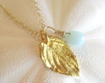 """Leaf Necklace - """"FRESH MINT"""" in Gold"""