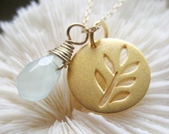 """Tree Branch Leaf Charm Necklace - """"One Earth"""" in Gold"""