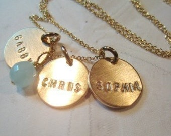 "Hand Stamped Mommy Necklace - ""Three Gold Discs Personalized with an Aqua Chalcedony Bead"""