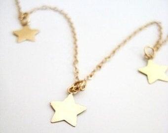 "Gold Stars Necklace - ""Three Lucky Stars"""