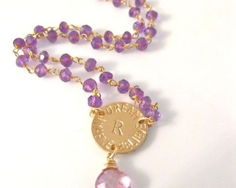 "Beaded Chain Necklace Personalized - ""INITIAL ATTRACTION"" with Genuine Amethyst and Mystic Pink Topaz"