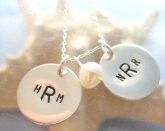 "Personalized Monogram Charms Necklace - ""Monogrammed Love"" in sterling silver"