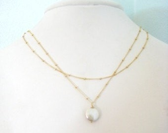 GOLD Coin Pearl Necklace - Tea House ot the August Moon  Most Versatile Necklace
