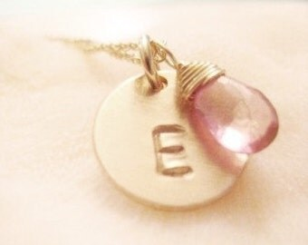 SIMPLE GOLD INITIAL Necklace - with Mystic Pink Topaz
