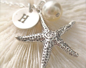 """Personalized Beach Theme Necklace / """"Saving Starfish"""" - with a Petite Initial"""
