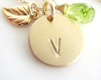 """Gold Leaf Initial Personalized Necklace - """"Sweet Leaf and Peridot"""""""