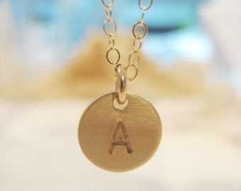 Little Gold Charm Necklace / Petite Initial in 14kgf - Personalized and Hand Stamped